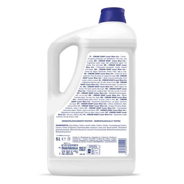 sapone in crema con profumazione luxor blu iris e white talc con antibatterico per mani viso e corpo in tanica da 5 kg codice 1021