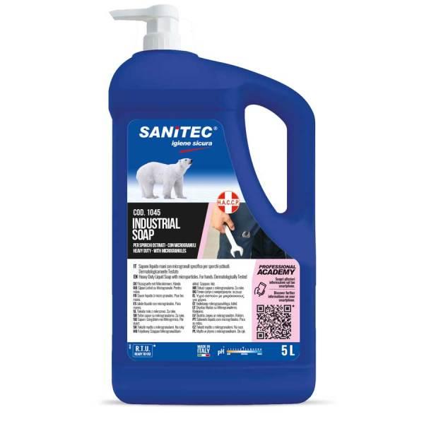 sapone per industria lavamani liquido gel con microgranuli per sporco ostinato dell'industria meccanica profumato all'arancia in tanica con dosatore da 5 lt codice 1045
