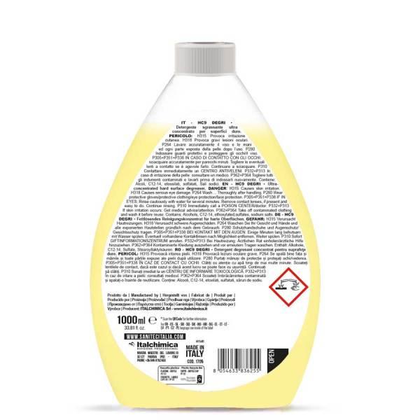 sgrassatore liquido ultra concentrato da diluire in acqua per piani da lavoro cappe forni e pentole in flacone da 1000 ml HC9 degri codice 1709