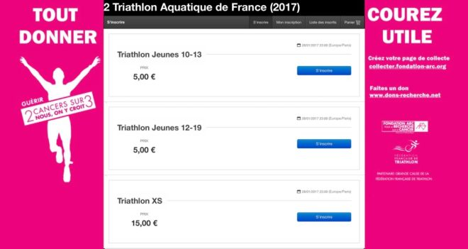 Inscriptions en ligne triathlon aquatique 2017