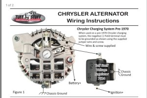 Tuff Stuff One Wire (1wire) Alternator: Install Help Please | For B Bodies Only Classic Mopar Forum
