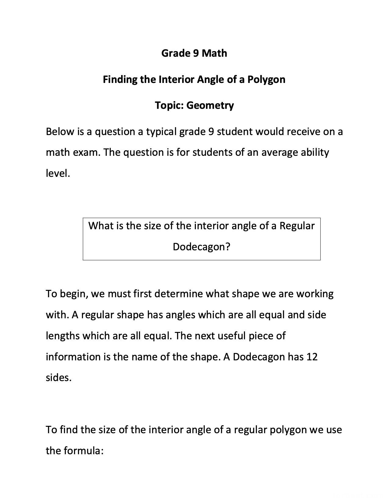 Grade 9 Finding The Interior Angle Of A Polygon