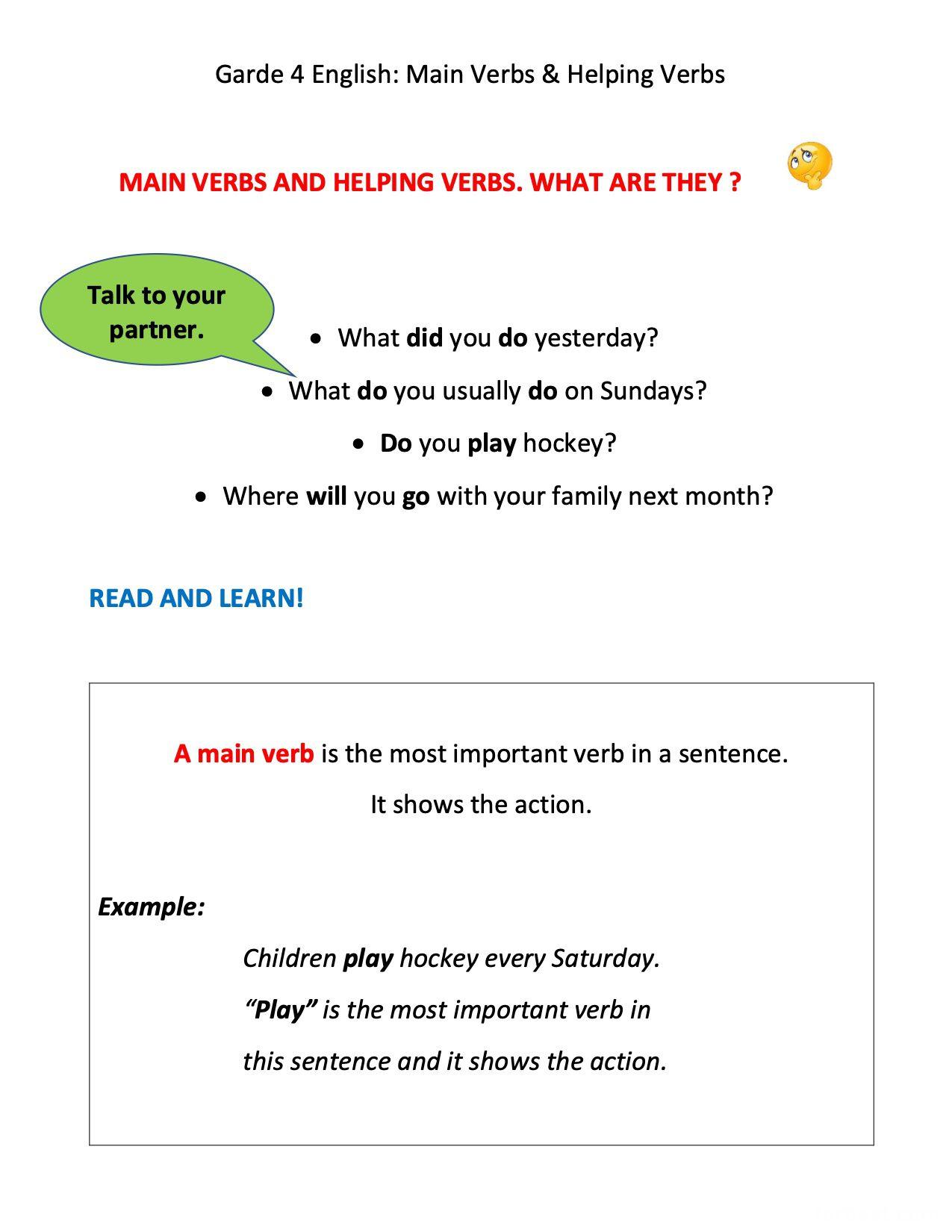 Grade 4 Main Verbs Amp Helping Verbs