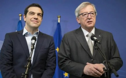 Alexis Tsipras and Jean-Claude Juncker addressing the press about Greece's standing in the Eurozone bailout programme.