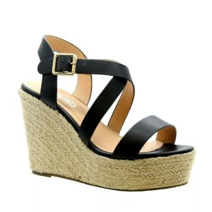 6124aa60385 Fleur Black High Hessian Wedge Heel Crossover Espadrille Sandals