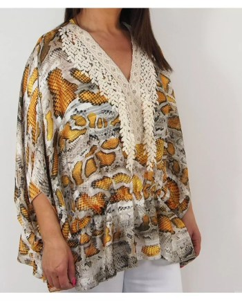 Shelby Snake Print Top - Mustard