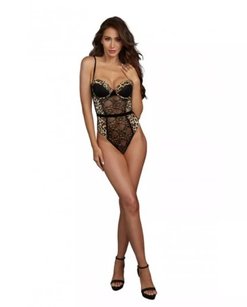 Dreamgirl Stretch Lace Cheetah Print Teddy - Black