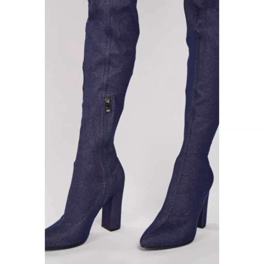 Ariya Denim Thigh High Over The Knee Boots - Blue