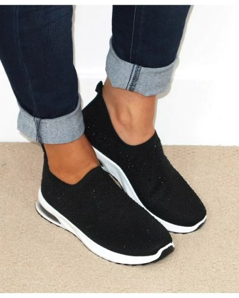 Sonia Sparkly Sock Trainers - Black