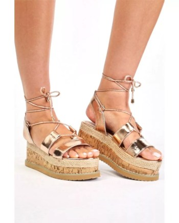 Helena Flat Wedge Lace Up Espadrille Sandals - Rose Gold