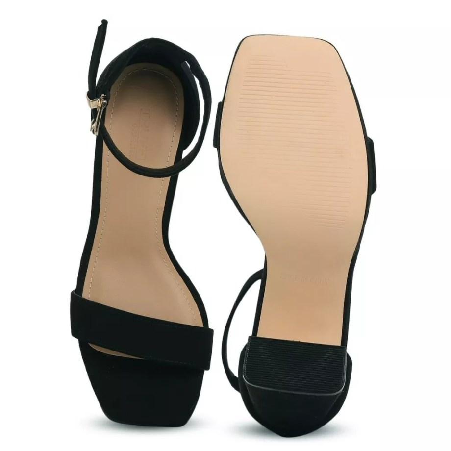Diana Faux Suede Platform Sandals - Black