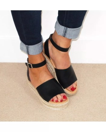 Kay Two Part Hessian Wedge Espadrille Sandals - Black