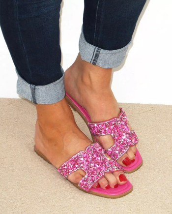 Stella Embellished Open Toe Sandals - Pink