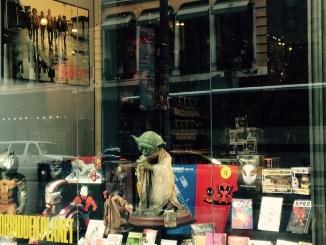 FPNYC Forbidden Planet Comics Yoda The Warriors Window Display