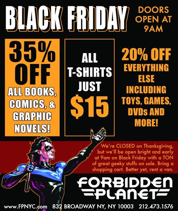Forbidden Planet Black Friday 2017 New York City Sale graphic novels toys