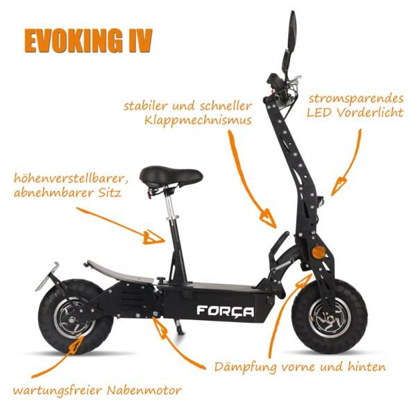 EVOKING IV ElektroRoller E Scooter Spezifikationen Test Specs - EVOKING-IV-ElektroRoller-E-Scooter