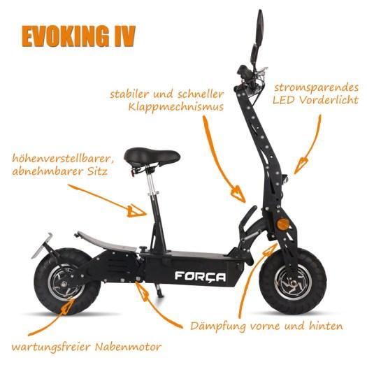 EVOKING IV ElektroRoller E Scooter Spezifikationen Test Specs - Evoking IV