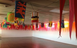 Example of installed artwork hanging from the ceiling in Gallery Yampu, Port Adelaide (SpinFX AustrAliA)