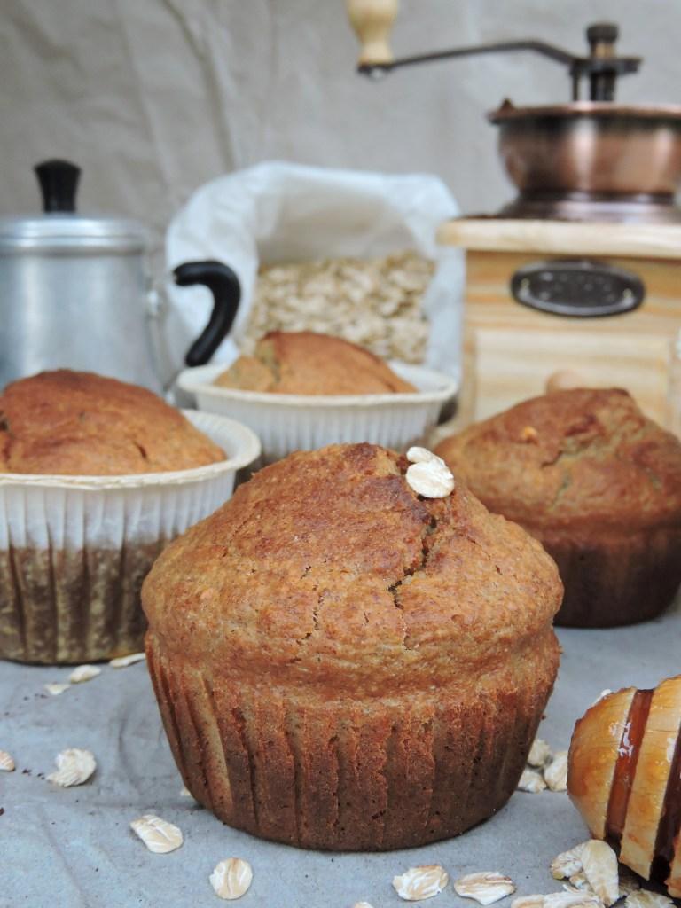 Muffin banana e fiocchi d'avena, gluten free, senza burro e olio