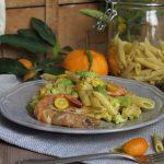 Pasta con broccoli, mazzancolle e mandarini cinesi