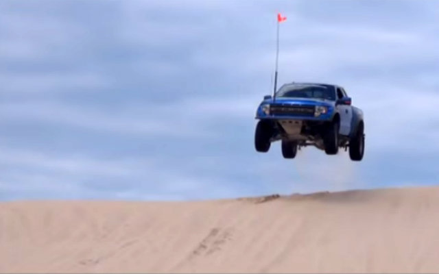 Ford Raptor Jumps at Silver Lake Sand Dunes