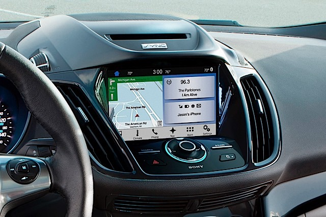 The SYNC 3 home screen features three zones, Navigation, Audio and Phone, as well as a quick access function tray along the bottom making for a more straight-forward user experience.