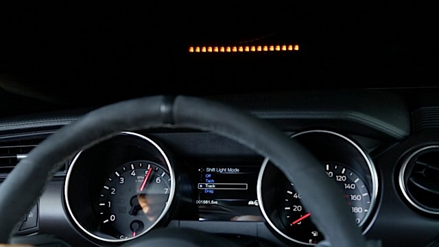 The Shelby GT350® Mustang features a Performance Shift Light Indicator heads-up display with Track, Tach and Drag mode.