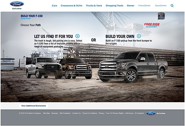 Ford F-150 Custom Build and Price Website