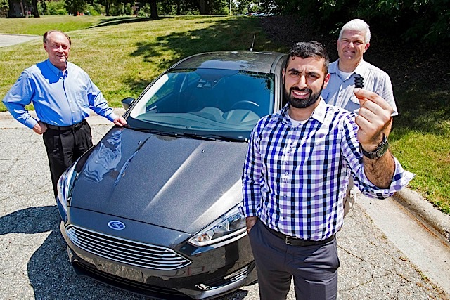 A team of Ford engineers, including (from left) David Gimby, Arman Sahota, and William Euliss, developed an innovative spider screen to keep spiders from nesting in Ford vehicles, like the new Ford Focus. The spider screen feature will go global with launch of the all-new 2016 Ford Focus RS next year.