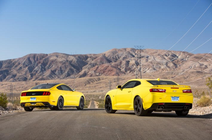 2016-Chevrolet-Camaro-SS-VS-Ford-Mustang-GT-rear-three-quarter