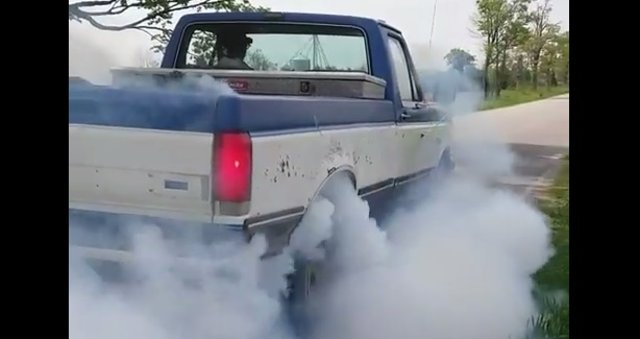blue and white f150 burnout