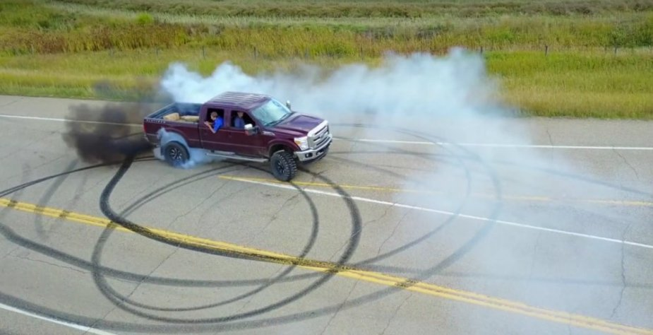 Farmer Pete's F-350 Burnout tire smokin tuesday