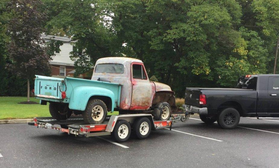 1953 F100 on trailer