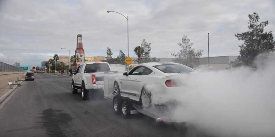Shelby Duel Burnout F350 and Mustang
