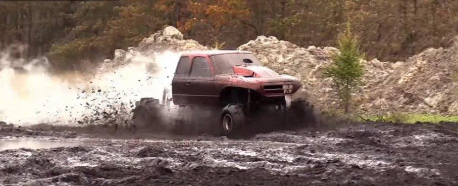 Orange Ranger Mud Truck Dirty