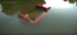 Ford Ranger submerged in river