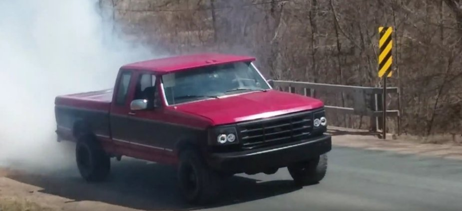 1995 Ford F-150 Doing a Burnout
