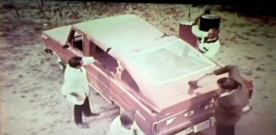 1967 Ford Truck Being Smashed Up