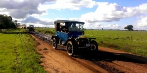 Blue Ford Model T Off-Roading