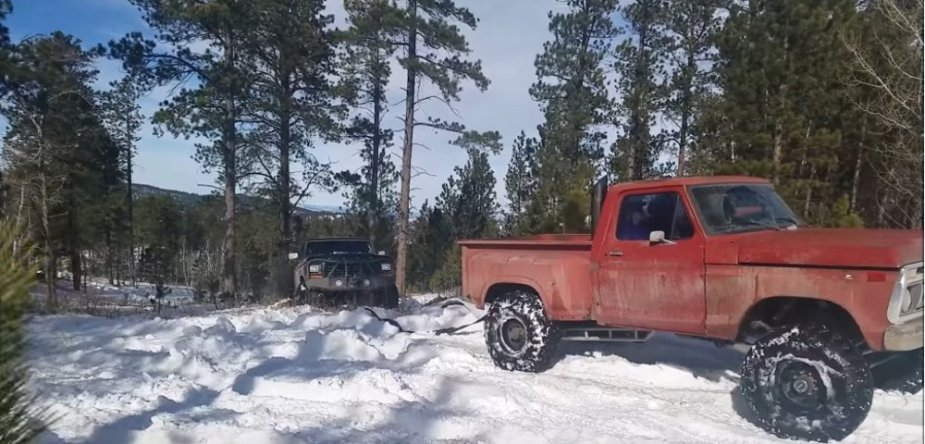 Ford F-Series Pulling a Bronco