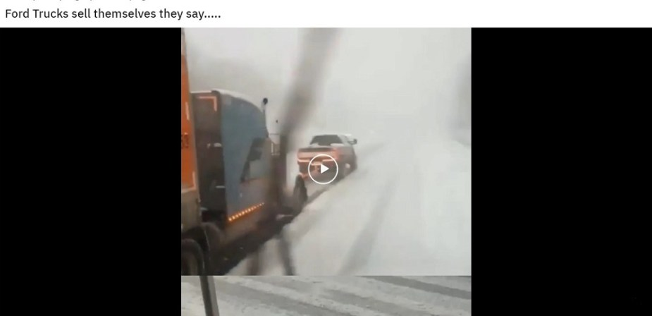 Ford Super Duty Helps a Tractor Trailer Climb an Icy Hill