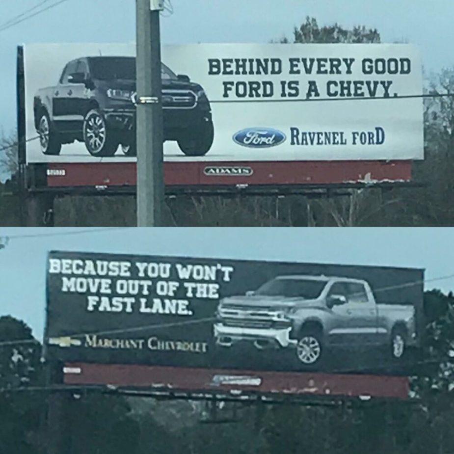 Ford vs Chevy Billboard Battle 2019