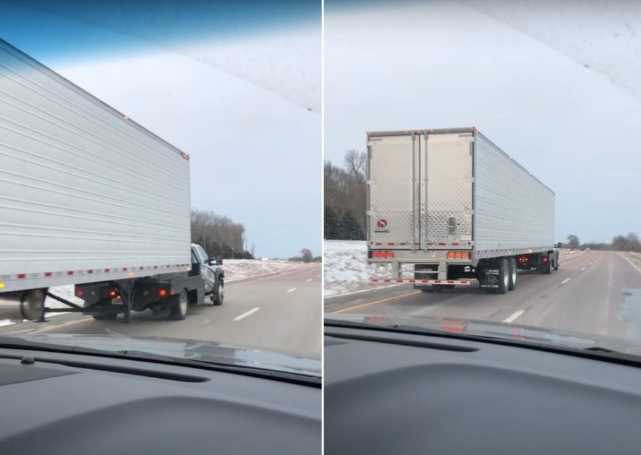 Ford Truck Pulling a Reefer Trailer