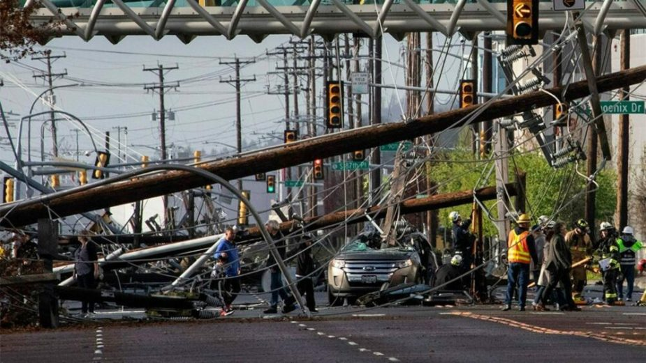 Ford Edge crushed by telephone pole