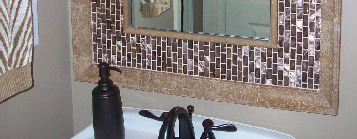 Seashell Tile Mirror for Hall Restroom