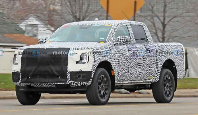 We get our first look at a prototype for the 2023 Ford Ranger Raptor wearing its production body, and running with a 2023 Bronco Warthog!