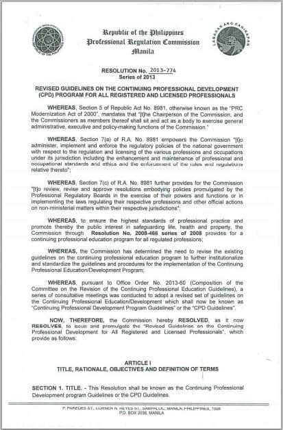 PRC Releases Revised Guidelines For Continuing ...