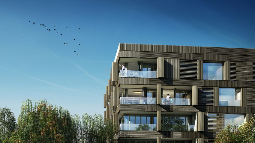 Exterior rendering of residential building, 3d visualization
