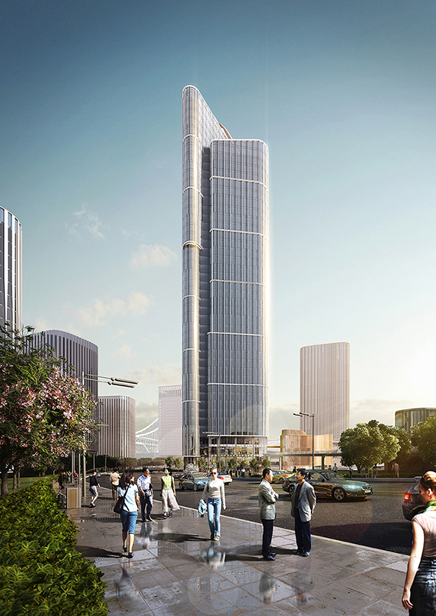 tower visualization of headquarters building, architectural rendering