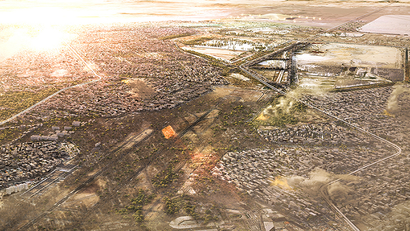 aerial visualization of Mexico city airport, 3d rendering aerial view, 3d visualization services